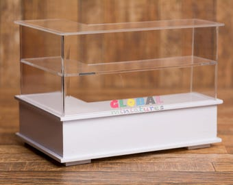 Dollhouse Miniatures Acrylic L-Shaped Left-Handed Bakery Shelf