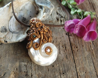 Sea snail shell - Hand Sculpted Polymer Clay Necklace