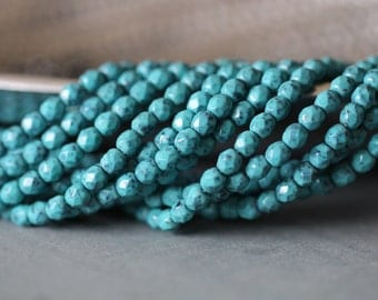 4mm, Turquoise Mosaic, Fire Polished, Faceted, Round, Czech Glass, Beads, 50 pieces