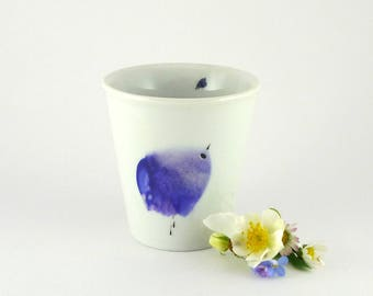 Porcelain cup, ceramic mug, coffee Cup for Espresso With Sweet Blue Bird,Hand painted