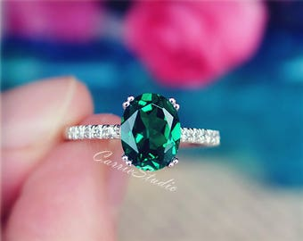 Special Offer! Oval Lab Emerald Ring Emerald Engagement Ring/ Wedding Ring 925 Sterling Silver Ring Anniversary Ring Birthday Present