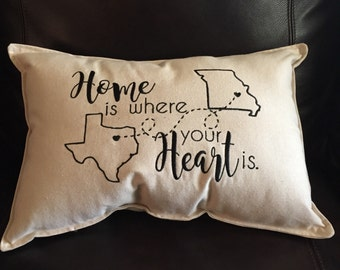 Home Is Where Your Heart Is Pillow // Decorative Pillow // Moving Away Gift // House Warming Gift // Gift for Friend // Personalized Gift