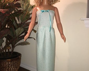Mint green pastel evening gown for my size Barbie