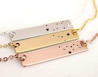Gemini Gold Plated, Constellation, Bar Necklace, Necklace Silver Plated, Gemini Necklace, Zodiac Necklace, Zodiac Jewelry, Birthday Gift