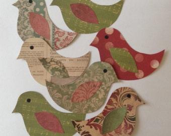 Paper birds, bird cut outs, scrapbooking, bird decoration, card making, paper supplies, bird embellishments, Christmas, Set of 3 or 5