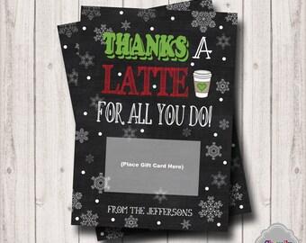 Christmas Gift Card Printable - XMAS005 - Latte, Christmas, gift card, teacher, student, co-worker, boss, gift idea