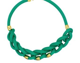 Knotted rope necklace, emerald and gold rope necklace, nautical rope necklace, rope and gold metal necklace, sailor rope necklace
