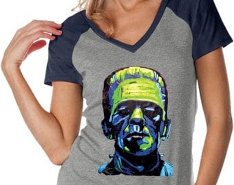 Ladies Frankenstein Face Contrast V-Neck Shirt 20719NBT2-WJP0567
