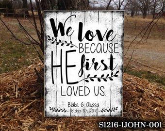 1JOHN Biblical Wedding Sign, Wedding Sign, Bible Verse, Wedding, Wedding Prop, Wedding Gift, Biblical Wedding Gift, Home Decor,Wedding Decor
