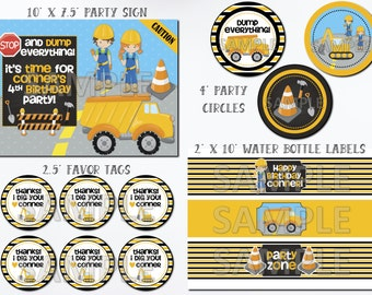 Construction Birthday Party Package, Construction Party Package, Printable Construction Birthday Kit, Construction Birthday Party Printables