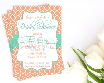 Peach and Aqua Bridal Shower Invitation, Printable Peach and Aqua Bridal Shower Invitation, Peach Quatrefoil and Aqua Invitation