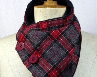 cowl scarf, red and grey Plaid flannel minki double