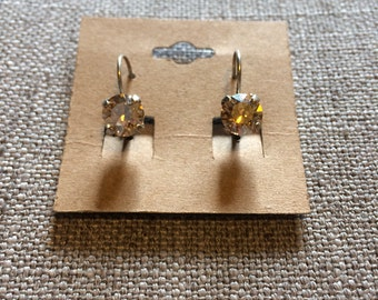 Golden Shadow 8mm Swarovski crystal earrings