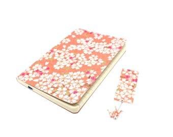Notebook, Golden coral, bookmark crane origami cherry blossoms