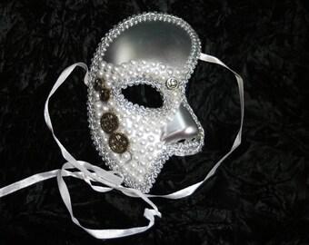 White Pearl Steampun Half Mask