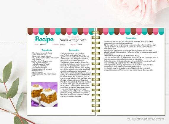 Personalized recipe book template editable recipe pages and cover – Word Recipe Book Template