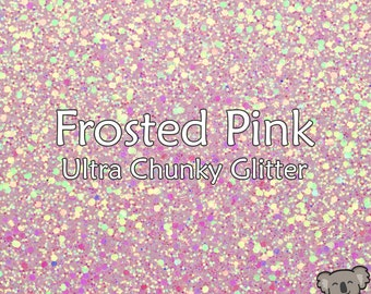 Chunky Frosted Pink Glitter Fabric A4 Or A5 Sheets Faux Leather For Bows & Crafts