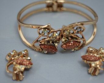 Goldstone and AB Rhinestone Beads Clamper Bracelet and Earrings