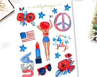 50% OFF JULY  Icons Stickers / Independence Day stickers / The happy Planner / Erin Condre / Planner Stickers