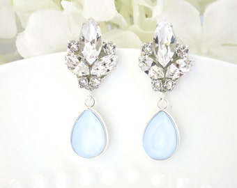 Wedding earring, Powder Blue teardrop bridal earring, Swarovski crystal drop earring, Pale blue wedding earring