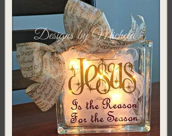 Jesus is the Reason for the Season Battery Powered Light Up Glass Block