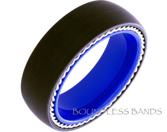 Tungsten Wedding Band Twisted Silver Rope Dome 8mm Black And Blue Tungsten Ring Men Women Wedding Bands Promise Anniversary Ring New Design