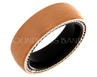 Tungsten Ring Tungsten Wedding Ring Mens Wedding Ring Promise Anniversary Engagement Ring Comfort Fit Flat 6mm Black And Rose Tungsten Rings