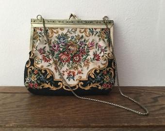 Vintage Tapestry Purse     Floral Pattern Tapestry  Handbag