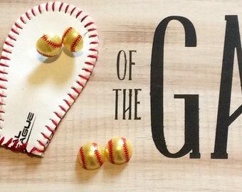 Softball Pearl Earrings/Softball Earrings/Softball mom/Fastpitch/Mom Birthday/Mothers Day/Softball Birthday