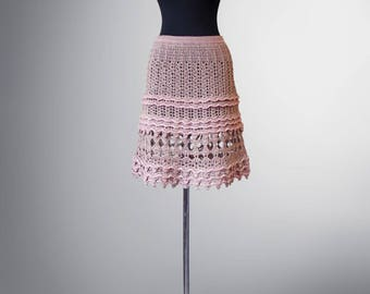 Crochet skirt Sally. Beige-coloured organic cotton crochet skirt. Ready to ship. Free shipping.