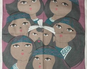Vintage Women Face Handkerchief from Japan