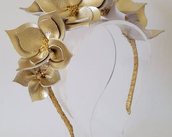 Gold Headband, Leather Crown,Leather Flower Headpiece, Wedding Fascinator