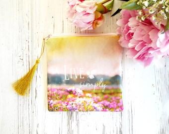 Petite trousse en tissu, porte-monnaie bohème, fleurs sur tissu, fleurs paysage aquarelle, petite pochette femme, petite trousse maquillage