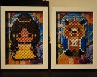 Framed Beauty and the Beast 8 bit Hama Beads