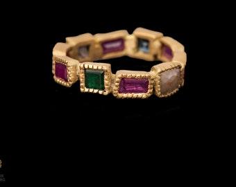18k Stone ring Ruby Emerald and diamonds