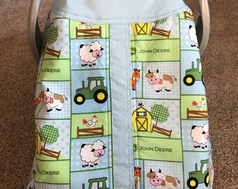 Handmade John Deere farm animals infant car seat canopy ready to ship