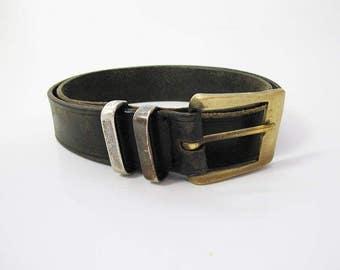 Mcrostie Scotland Original Vintage Mens Real Leather Belt Black Rare