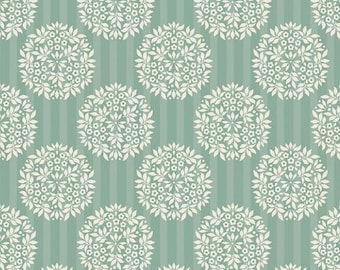 Fat Quarter Tilda Fabric Flower Ball, Teal. Patchwork and Quilt Fabric. Designer Sewing Fabric. Floral Pattern Fabric. Doll Making Materials