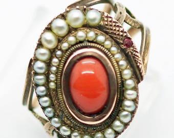 Antique Georgian Ring Snake 14k Gold Natural Pearls Coral  (#6172)