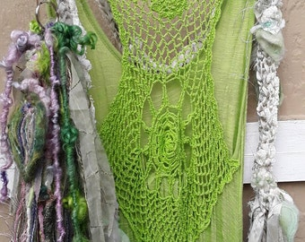 Altered couture dress, boho dress, vintage fabrics upcycled spring green's, lace insert  ,beach dress,