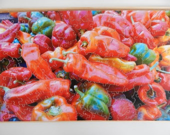 Wooden Jigsaw Puzzle. Farmer's Market Peppers