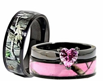 4 colors his and hers camo wedding rings set camouflage engagement rings pink red blue - Camouflage Wedding Ring Sets