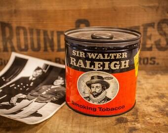 Vintage Sir Walter Raleigh Tobacco Tin Orange Black White  Brown & Williamson Tobacciana Man Cave Rustic FREE SHIPPING