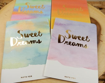 Sweet Dreams Notebook, Small Notepad, Travel Journal, Patterned Diary, Inspirational Journal, Foil Letters
