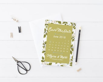 Green and white floral save the date card with calendar custom wording