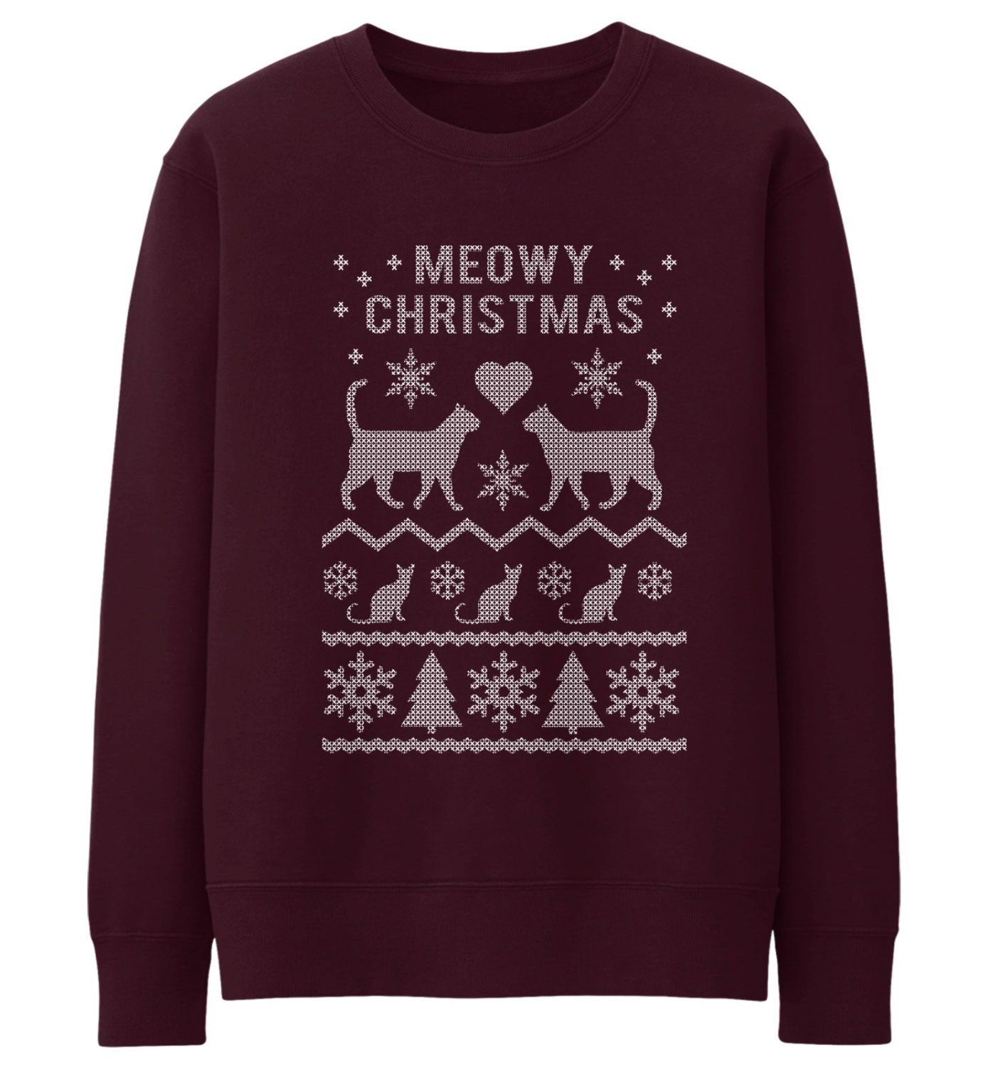 Meowy Christmas Jumper Ugly Fair Isle Style Sweater Xmas Cat