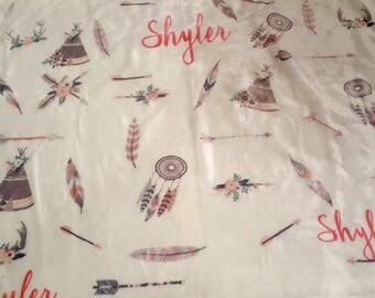Personalized baby blankets teepee, feathers, arrows, bucks , boys & girls