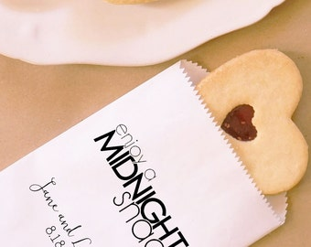 Midnight Snack Cookie Bags, Hot Pretzel Bags, Party Favor, Dessert Table, Bakery Bags, Wedding - Personalized - Coated, Grease Resistant