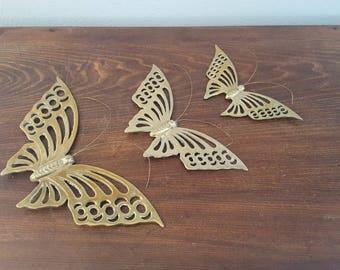 Brass Butterflies - Set of 3