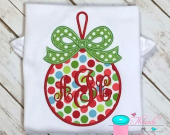 Christmas Ornament Applique Shirt - Christmas Shirt - Christmas Applique Shirt - Girls Christmas Shirt